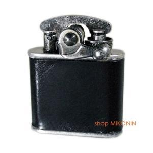 Colibri コリブリ フリントオイルライター ニッケルバレル革巻き黒 308-0032|miko-store