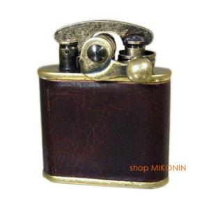 Colibri コリブリ フリントオイルライター ブラスバレル革巻き茶 308-0033|miko-store