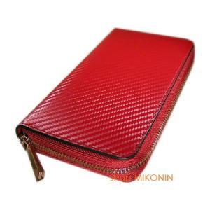 アイコスケース カーボンレザー 長財布型 IQA7001 RD レッド 牛革 iQOS CASE|miko-store