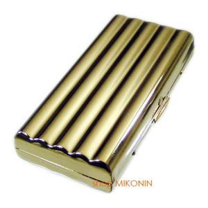 PEARL シガレットケース ウェーブ 10 ゴールド 85mm 10本収納 坪田パール|miko-store
