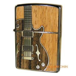 ZIPPO ジッポー アンティークギター ウッドインレイ 真鍮イブシ 木象嵌|miko-store