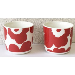 マリメッコ UNIKKO COFFEE CUP 2DL 2PCSセット ホワイト×レッド 2019  mikonfinlandshop