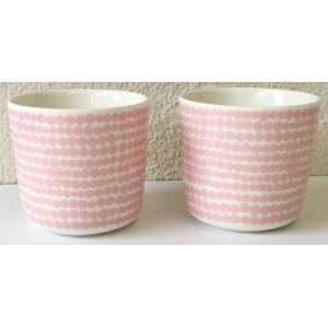 マリメッコ SIIRTOLAPUUTARHA COFEE CUP 2DL 2PCS SET シイルトラプータルハ コーヒーカップセット ホワイト×ピンク|mikonfinlandshop