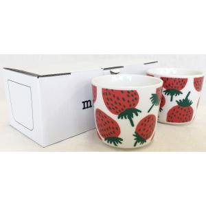 マリメッコ MANSIKKA COFFEE CUP 2DL 2PCSセット マンシィッカ コーヒーカップ ホワイト×レッド|mikonfinlandshop