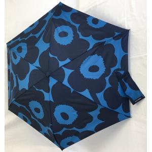 マリメッコ 折りたたみ傘 スリム PIENI UNIKKO ピエニウニッコ ブルー×ダークブルー mikonfinlandshop