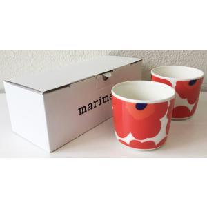 マリメッコ UNIKKO COFFEE CUP ラテマグ 2DL 2PCSセット ホワイト×レッド mikonfinlandshop
