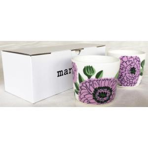 マリメッコ PRIMAVERA COFFEE CUP 2DL 2PCSセット プリマヴェラ コーヒーカップ ホワイト×ライトパープル mikonfinlandshop