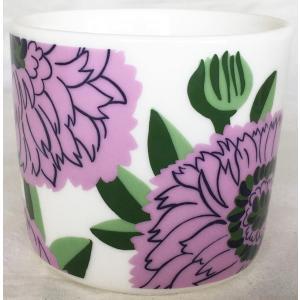 マリメッコ PRIMAVERA COFFEE CUP 2DL プリマヴェラ コーヒーカップ ホワイト×ライトパープル 単品 mikonfinlandshop