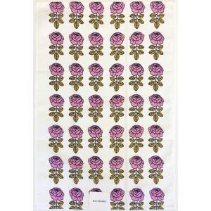 マリメッコ VIHKIRUUSU ヴィヒキルース キッチンタオル ホワイト×ピンク mikonfinlandshop