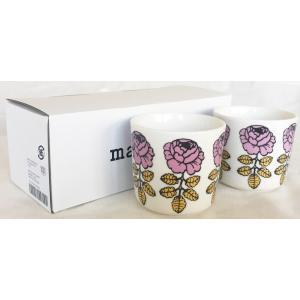 マリメッコ VIHKIRUUSU COFFEE CUP 2DL 2PCSセット ホワイト×ピンク mikonfinlandshop