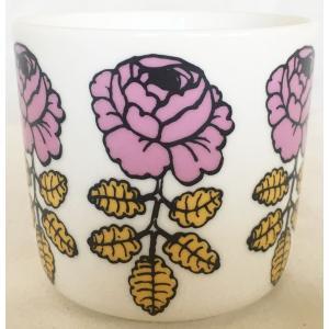 マリメッコ VIHKIRUUSU COFFEE CUP 2DL ホワイト×ピンク 単品 mikonfinlandshop