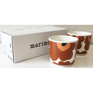 マリメッコ UNIKKO COFFEE CUP 2DL 2PCSセット ホワイト×ライトブラウン mikonfinlandshop