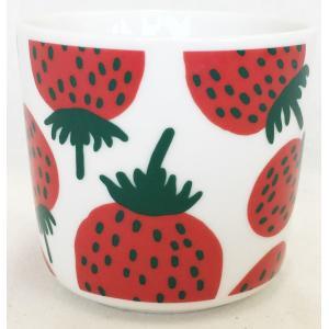 マリメッコ MANSIKKA COFFEE CUP 2DL マンシィッカ コーヒーカップ ホワイト×レッド 単品|mikonfinlandshop