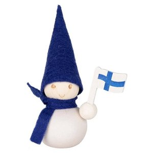 アーリッカ aarikka Pakkanen suomi 氷の国のトントゥ フィンランド旗 ブルー S|mikonfinlandshop
