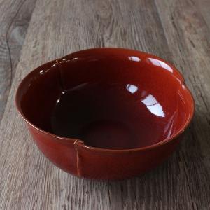 京都 清水焼 柿釉 綴じ目大鉢 風呂敷包み|mikura