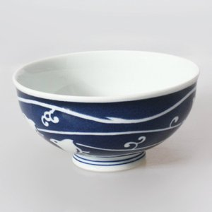 藍千鳥 伝統和柄 粋シリーズ ご飯茶碗 お茶碗 飯碗 波佐見焼 磁器 和食器 LT5 mikura