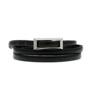 ブレスレット DAgDART・ダグダート Glass 三重巻き シルバー×レザーブレス(ブラック)  DB-093BL|miles
