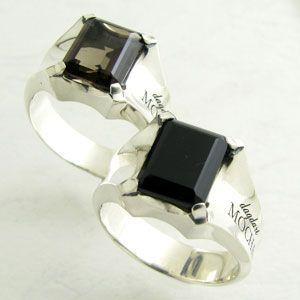 指輪 メンズ DAgDART・ダグダート MOCHA モカ 8角形大粒 シルバーリング ブラックオニキス スモーキークォーツDR-320|miles