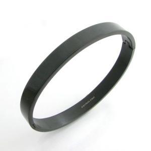 ブレスレット バングル ブラックカラー シンプル 無地 ステンレス製 Sサイズ Mサイズ KB32006|miles