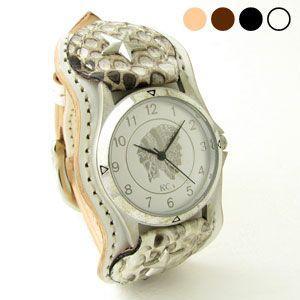 腕時計 KCs(ケーシーズ)スタースタッド パイソン(ニシキヘビ)×牛革 ナッシュビル レザーウォッチ KIR515|miles