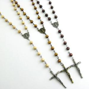 ネックレス ペンダント ウッドビーズ シンプル クロス 十字架 ロザリオ 3色 KN21041|miles