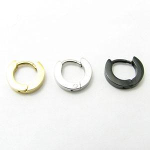ピアス ステンレス製フープピアス 片耳販売 ゴールドカラー ブラックカラー ステンレスカラー kp40005 miles