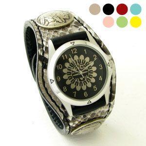 腕時計 KCs(ケーシーズ)パイソン ニシキヘビ革 3コンチョレザーウォッチ KSR508|miles