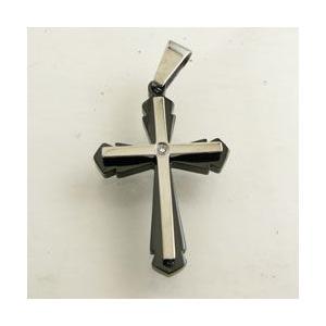 クロス 十字架 キュービックジルコニア付 ステンレス製ペンダントトップ kt26005|miles