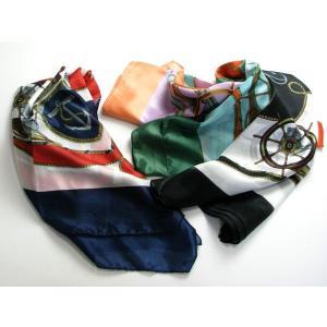 マリン柄スカーフ・マリンモチーフ 4色 SC13 スカーフ マフラー 防寒小物 巻物 ショール ストール miles