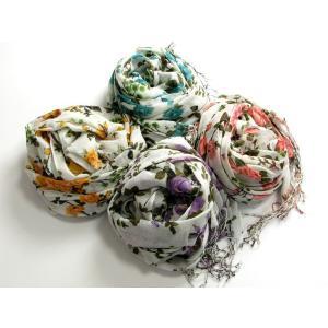 バラ柄やさしいコットンストール・ばら模様・フラワー・綿製 4色 SC2 スカーフ マフラー 防寒小物 巻物 ショール ストール miles