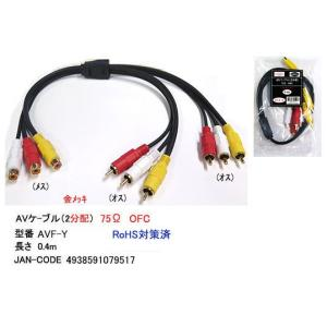 AV2分配ケーブル-ピンプラグ(黄/赤/白)メス⇔オスx2/0.4m (AVF-Y)|milford