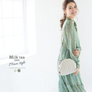 Milk tea next フローラ・パールボタンシフォンワンピース ワンピース シフォン レディー...