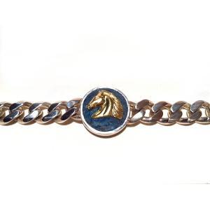 【rara新作】馬の紋章チェーン・シルバー製マリンブルー(真鍮)|milkyway-powerstone