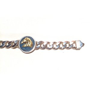 【rara新作】馬の紋章チェーン・シルバー製マリンブルー(真鍮)|milkyway-powerstone|02