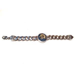 【rara新作】馬の紋章チェーン・シルバー製マリンブルー(真鍮)|milkyway-powerstone|03