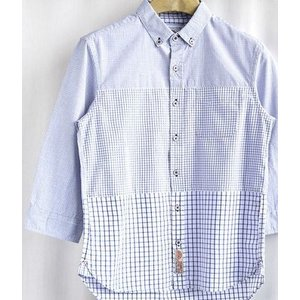 値下げ!綿100%   3段チェック切替 7分袖 ボタンダウンシャツ|million-arrow