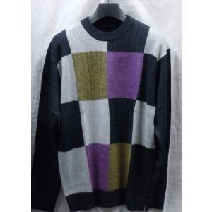 Lのみ   日本製!高級ブランド BON GIOVANE ラム杢 丸首セーター   |million-arrow