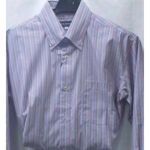 値上げ!![サイズ M,L,LL]  百貨店ブランド  BON GIOVANE  綿100%マルチカラー長袖シャツ  2色 日本製|million-arrow