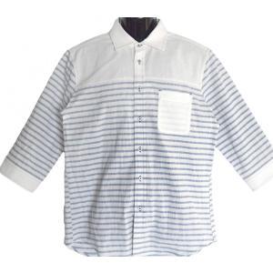 コットンパナマ織り ボーダー切替 七分袖|million-arrow