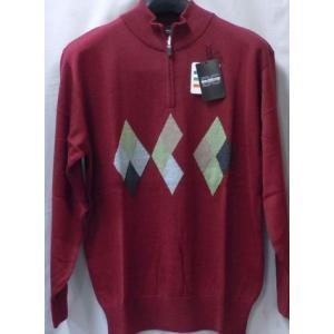 日本製!ウオームビズ 高級ブランド BON GIOVANE アーガイル柄 ハーフジップセーター  2色 million-arrow