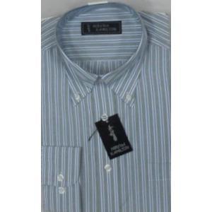 商品入れ替えのため大放出![サイズ M,L,LL ] イージーケア ボタンダウンシャツ  ストライプ柄 (ブルーとグレーのストライプ)|million-arrow