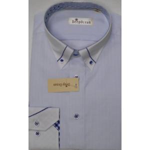 Deep Ocean 高級ワイシャツ すっきりシルエット 形態安定 39-82|million-arrow