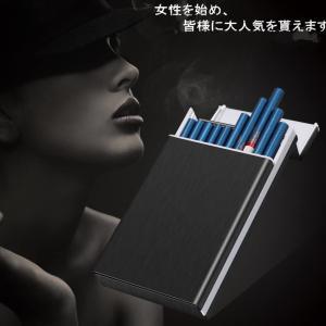 Tenfel シガレットケース 100mm スリムサイズ ロングタバコ 20本収納可 ワンタッチ開け タバコケース 男女兼用 ブラック TJ|million-got