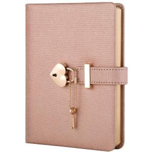 日記帳 鍵付きハート型個人ジャーナルシークレットノートブックギフト女の子と女性B6手帳 サイズ13.5cmx17.8cm(色:シャンパン)|million-got