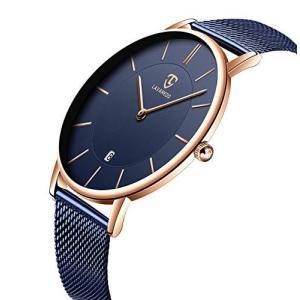 腕時計、メンズ腕時計 極薄型 シンプル カジュアル ファッション ユニセックス アナログ クォーツ 日付表示 防水腕時計 メッシュバンド ブ|million-got