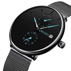 腕時計 メンズ ステンレスメッシュシンプルウォッチメンズ防水クォーツウォッチ日付表示メンズウォッチファッション薄いブラックビジネスカジュアル|million-got