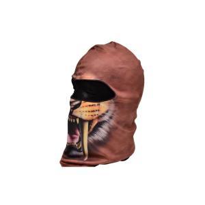 【BB02】 フェイスマスク バラクラバ フルフェイスマスク ライオン柄 牙 茶色|million