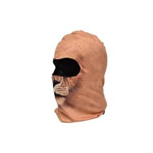 【BB06】 フェイスマスク バラクラバ フルフェイスマスク ライオン柄 薄茶色|million
