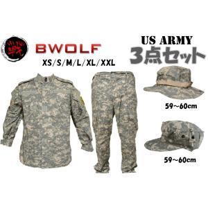 BWOLF製 迷彩服 戦闘服 上下セット ブーニーハット 八角帽 3点セット ACU迷彩|million
