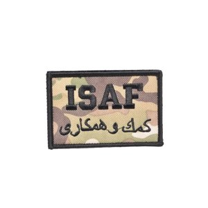 ISAF ミリタリー ワッペン パッチ サバゲー ベルクロ付き マルチカモ迷彩|million